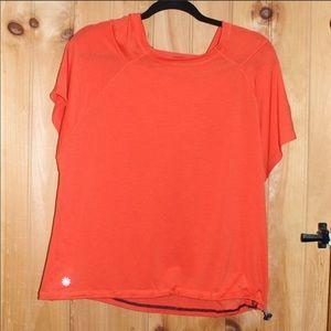 Athleta Orange Hoodie Short Sleeve
